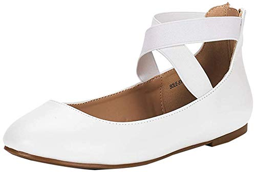 DREAM PAIRS Women's Sole_Stretchy White Pu Fashion Elastic Ankle Straps Flats Shoes Size 8 M US