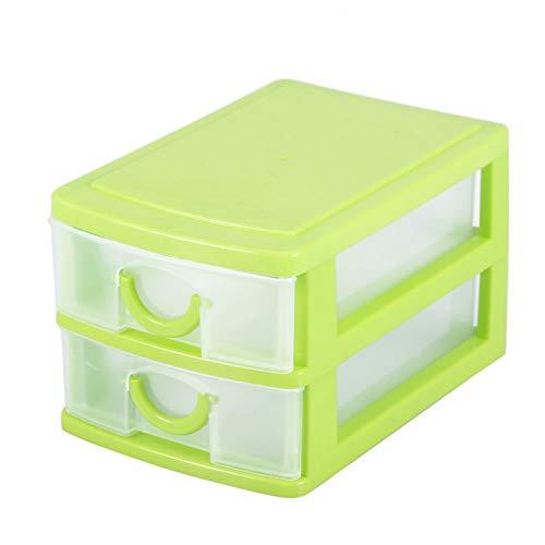 Mini caja de almacenamiento de maquillaje delicado desmontable, para guardar algunos(2 layers of green)