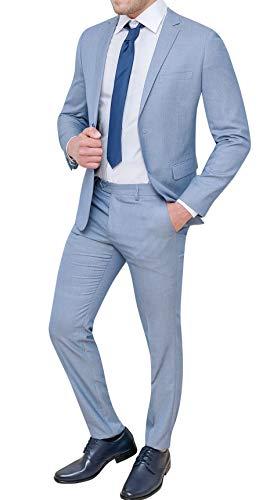 Abito Completo Uomo Sartoriale Celeste Chiaro Slim Fit Vestito Elegante Cerimonia (46)