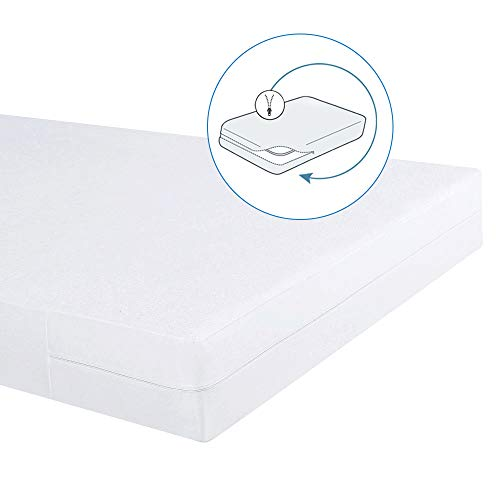 Bedecor – Funda de colchón elástica con Cremallera,Algodón,Impermeable y Transpirables 180 x 200cm | Altos hasta 16cm