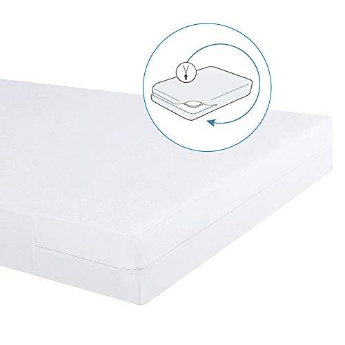 Bedecor Cotone Fodera coprimaterasso Impermeabile con Cerniera,Anti-allergia, Anti-acaro, Antibatterico (160x200+20cm)