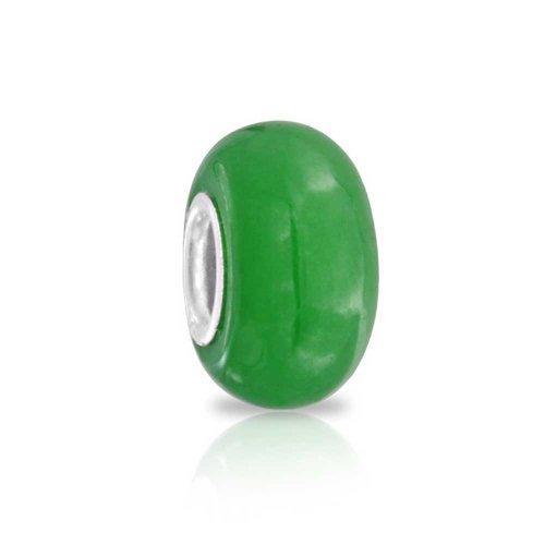 Teñido De Verde Jade Abalorio Separador De Piedras Preciosas Albalorio Para Mujer 925 Encaja Pulsera Europea