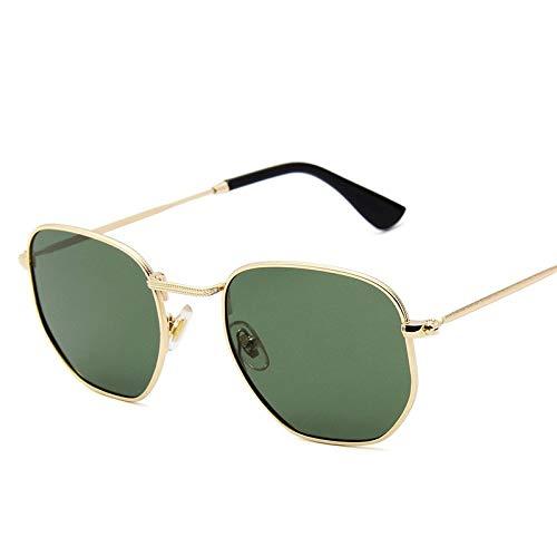 Zonnebril voor dames en heren, klassieke zonnebril, kleuren vintage, retro, modieuze trend gepolariseerde zonnebril, goud, met klein frame, metaal, zonnebril, lichte inkt, groen, kwikzilveren glazen