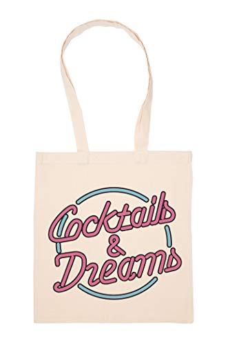 Cocktails And Dreams Neon Style Bolso De Mano Reutilizable Compras Comestibles Bolsa...