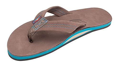 Rainbow Sandals Men's Single Layer Premier Leather With Blue Midsole, Expresso, Men's Large / 9.5-10.5 D(M) US