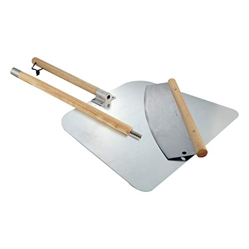 Pizza Cutter Rocker Style & Pizza Peel Set - 14' Large Pizza Metal Slicer Sharp Knife Blade Chopper with 14' x 16' Heavy Duty Pizza Paddle Board Pan with Wood Handle - Premium Oven Baking Accessories