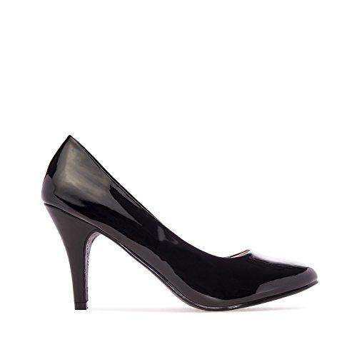 Andrés Machado - Elegante pumps voor dames en meisjes met 9,5 cm hak en ronde neus - AM422 - hoge hakken, Imitatie lakleer - zwart, vanaf maat (EU) 43