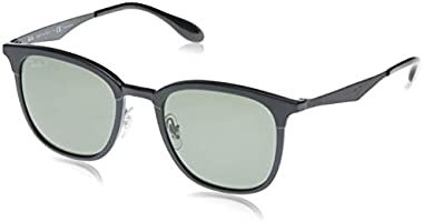 Ray-Ban Injected Unisex Sunglass Polarized Square Matte Black, 51 mm