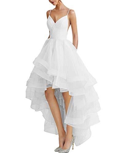 Brautkleider Hochzeitskleider Standesamt Prinzessein A-Linie Brautmode Strand Abendkleid Ballkleid Vorne Kurz Hinten Lang Weiß 34