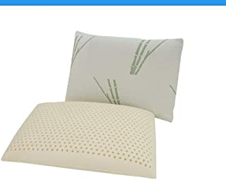 QIQIHOME Natural Latex Foam Pillow,Firm, Breathable, with Removable Inner and Outer Cover. (Bamboo White, Standard Size Firm 23.4 X 15.6 X 3.9 inch)