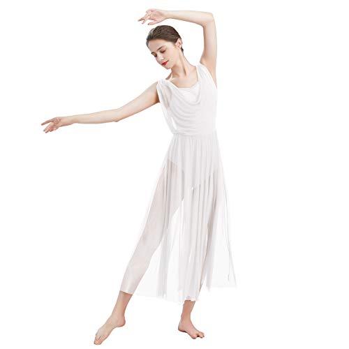 ODASDO Women Lyrical Modern Contemporary Dance Costume Ballet Leotard Drop V-Neck Backless Split Mesh Tulle Skirt Flowy Overlay Long Dress Ballroom Pageant Clothes White M