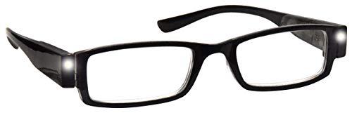 The Reading Glasses Company Illuminato Led Ore Notturne Lettori Di Luce Uomo Donna Nero L1-1 +2,00 - 50 Gr
