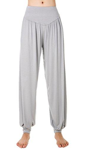Lanmay Women's Elastic Soft Modal Cotton Yoga Sports Pants Dance Harem Pants Medium Light Gray