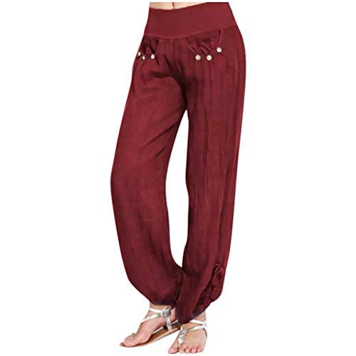 JOFOW Womens Pants Solid Side Slit Loose Comfy Bowknot Pants (W-Wine, 2XL)