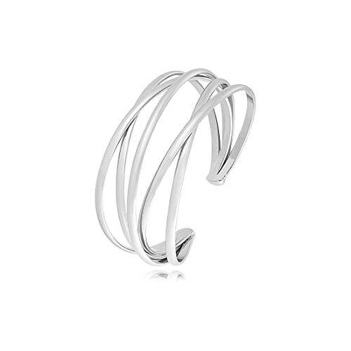 Silver Cuff Bracelet for Women Girls,Multi-layer Cross Wire Bangle Bracelet Open Adjustable Wide Cuff Bracelet