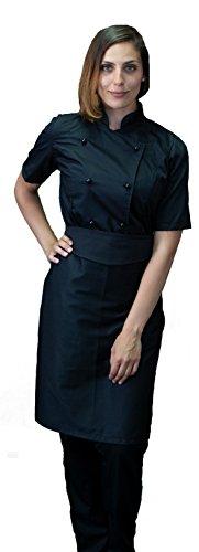 tessile astorino Ricamo Gratuito - Completo Cuoco da Cucina - Nero - Divisa Chef Donna Manica Corta - Pantalone, Giacca e Grembiule - Made in Italy (S)