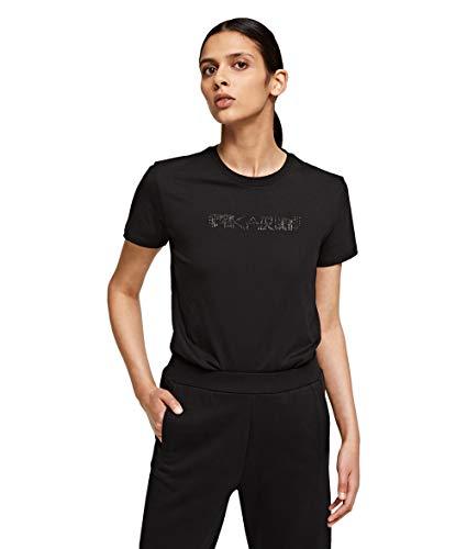 KARL LAGERFELD Damen Rhinestone Logo T-shirt T Shirt, Schwarz, XL EU