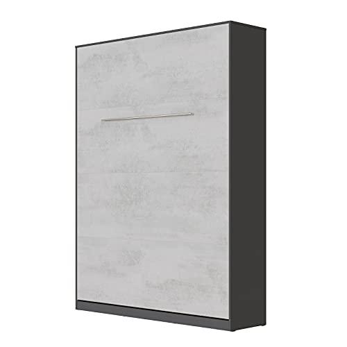 SMARTBett Standard 140x200cm Vertical Antracita/Concreto   Cama Abatible, Cama De Pared, Cama Plegable, Cama Oculta