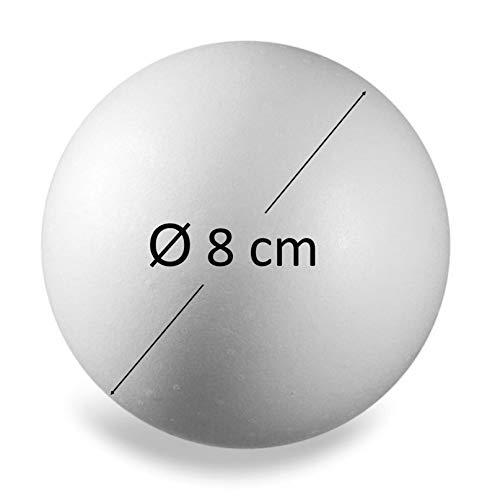 ZADAWERK® Bola de poliestireno - sólida - Ø 8 cm - 30 Piezas - Pelota - Manualidades - Pintura - diseño - decoración - Bricolaje