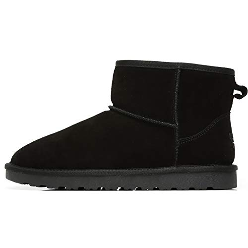MIAOJIE Hombres Botas De Nieve Faux Piel Forrada Forrada Outsole De Goma Zapatos Térmicos,Negro,40