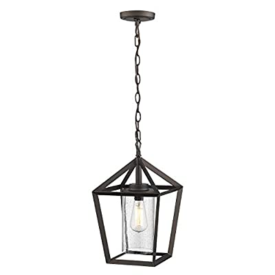Emliviar 17 Inch Outdoor Pendant Light, Exterior Hanging Light in Oil Rubbed Bronze Finish with Seeded Glass, YE19109H ORB