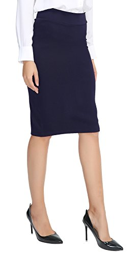 Urban CoCo Women's Elastic Waist Stretch Bodycon Midi Pencil Skirt (S, Navy Blue)
