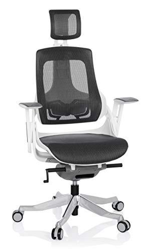 hjh OFFICE 640300 Profi Bürostuhl SPEKTRE Netz Weiß/Grau ergonomischer Drehstuhl mit Verstellbarer Rückenlehne