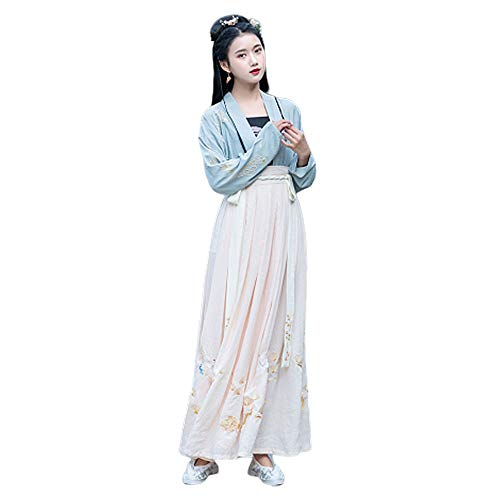 YCWY Frauen Ancient Chinese Kostüm, Vintage Chinese Dress Bestickt Tang Anzug Foto-Shooting Kleidung Cosplay Dance Kostüme Flying Crane Printing,L