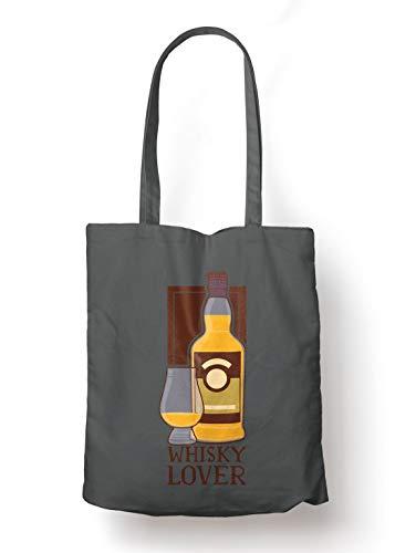BLAK TEE Whisky Lover Organic Cotton Reusable Shopping Bag Grey