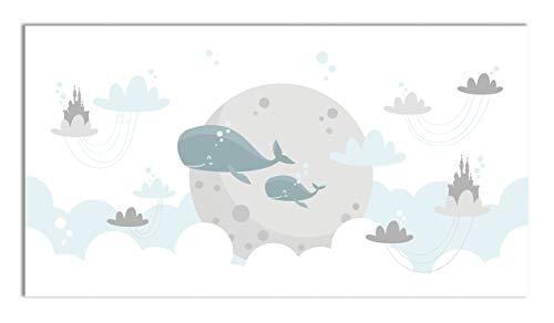 Panorama Alfombra Vinílica Ballenas para Niños 80x150 cm - Alfombra Infantil Vinilo - Alfombra Salón Antideslizante, Antihongos e Ignífuga - Alfombras Grandes - Alfombras PVC