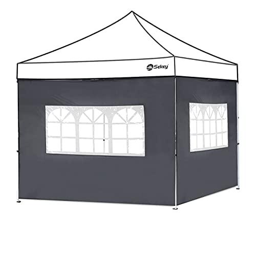 Sekey 2 Seitenteile Seitenwände für Pavillon 3×3m mit Fenster, ohne Reißverschluss, Wasserdicht für Festzelt, Partyzelt, Grau