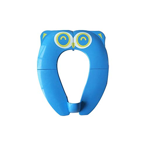 Upgraded Kids Folding Toilet Seat,Large Non Slip Silicone Pads Travel Portable Reusable Toilet Potty Training Seat Covers Liners with Carry Bag for Babies, Toddlers (Blue)