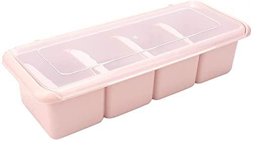 Contenitore Per Condimenti, Dispenser Per Condimenti, Scatola Per Condimenti A 4 Scomparti, Organizzatore Per Portaspezie, Contenitore Per Porta Condimenti-Pink