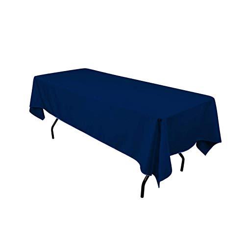 JK Home Nappe de Table Rectangulaire Polyester pour Fête Mariage Restaurant Bleu Marine 152 * 320cm