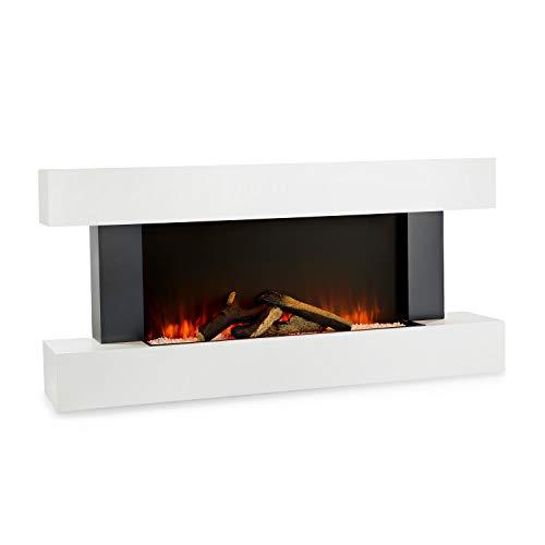 Klarstein Studio Light & Fire 1 - Kamin, LED-Flammenillusion, Heizfunktion mit 1000/2000W, Ambient Down Light, Wochen-/Abschalttimer, Gehäuse aus MDF, Thermostat, weiß