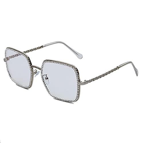 HAOMAO Gafas de sol cuadradas de diamantes de imitación fotocromáticas de diseñador de marca con marco de aleación para mujeres y hombres 3