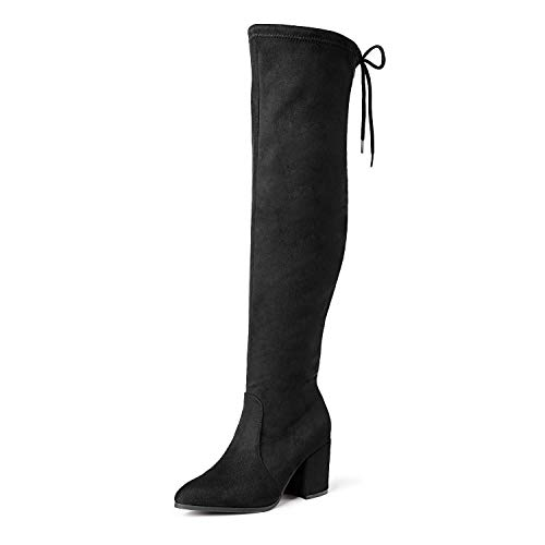 DREAM PAIRS Women's Black Thigh High Boots Over The Knee Stretch Suede Cute Block Heel Fashion Long Boots Size 8.5 M US Gracie-2