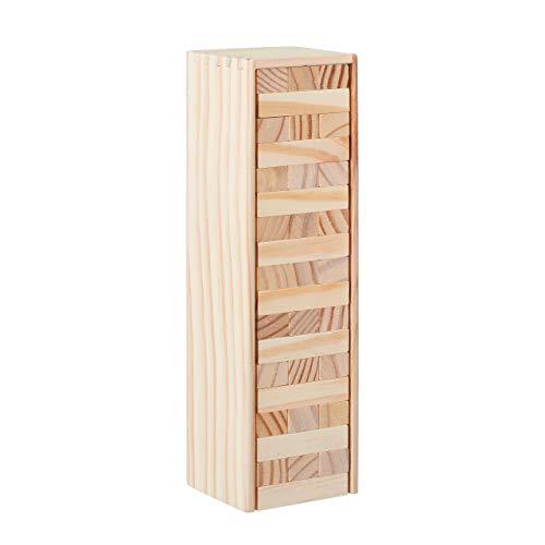 Relaxdays Wackelturm Holz, 54 Bausteine zum Stapeln, lustiges Stapelspiel für Kinder & Erwachsene, Holzspielzeug, natur