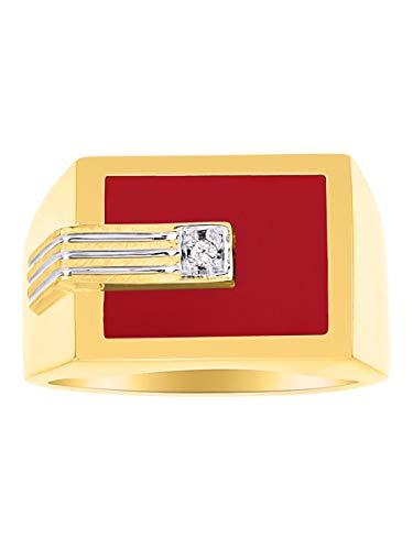 Juego de anillos para hombre con diamante y ónix rojo, cuarzo, ágata roja, chapado en oro amarillo y plata.
