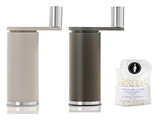 Adhoc Set Pfeffermühle und Salzmühle Smoos mit 100 Gr. Salz mokka und topaz