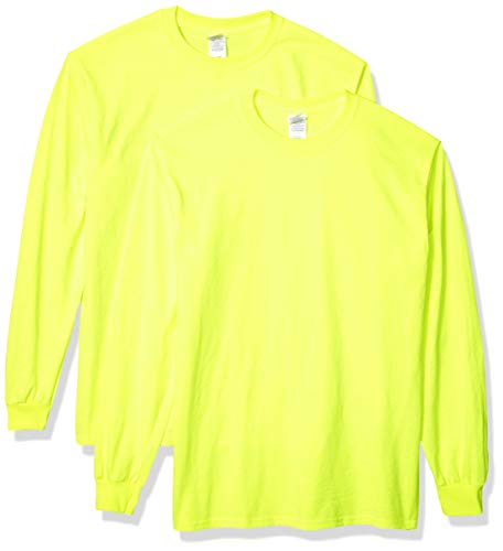 Gildan Men's Ultra Cotton Adult Long Sleeve T-Shirt, 2-Pack Shirt, -Safety Green, 2X-Large