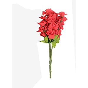 Indian Decor & AttirePolyester Fabric and Plastic Artificial Gardenia Flower Bunch (20 cm x 20 cm x 42 cm, Red)