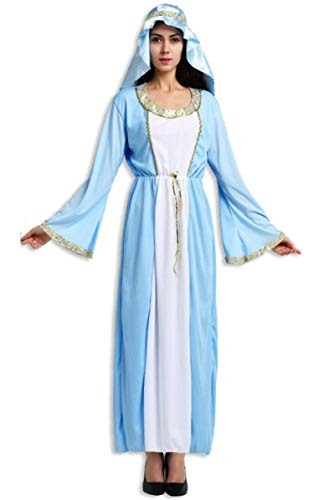 Lovelegis Talla única - Disfraz de Virgen maría - Dama para Mujer niña - Adultos - Disfraz Carnaval Halloween Cosplay - Color Turquesa