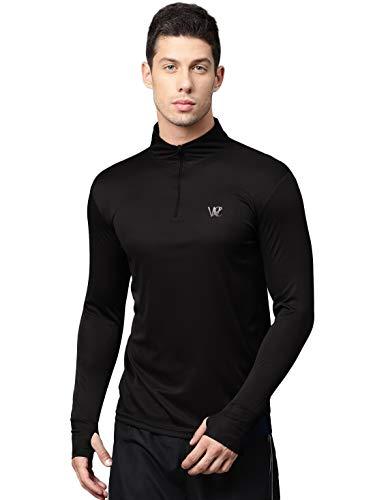 WC RIGHT Men's Slim Fit T-Shirt (MENS-BLACK-THUMBCUT-ZIPPER-TSHIRT-02M_Black_Medium)