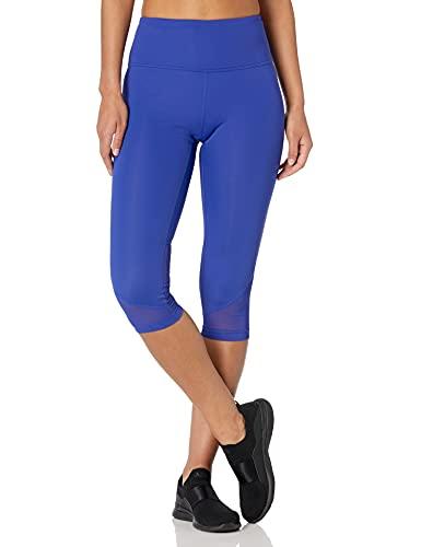 "Amazon Brand - Core 10 Women's Race Day High Waist Run Mesh Capri Legging - 19"", Brite Blue, M (8-10)"