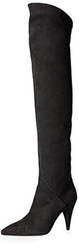 Saint Laurent Cat 90 Oberschenkelstiefel für Damen, (Schwarze Velourslederoptik), 37 EU