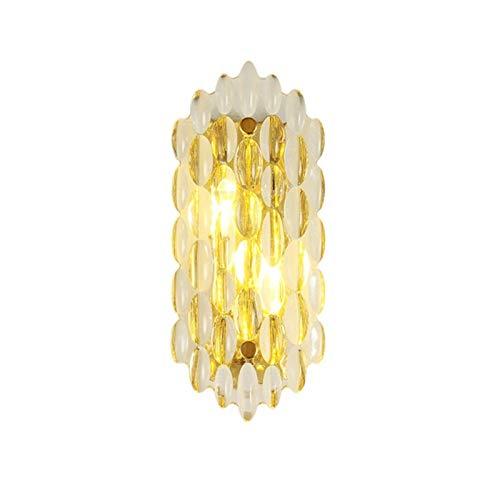 YXLMAONY Lámpara de pared de metal galvanizado, sala de estar interior, pasillo, lámpara de pared doble E14 decorativa, pantalla de cristal, lámpara de noche para dormitorio, adecuada para pasillo, ba