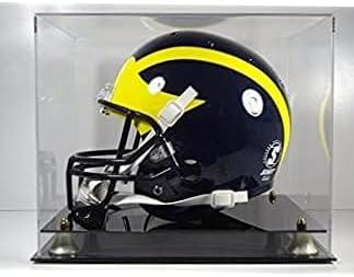5 popular Football Helmet Display Case Mirror GLD Black Soldering Back Acrylic Base