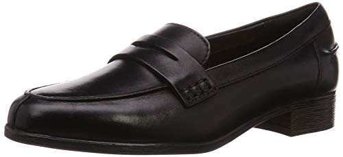 Clarks Damen Hamble Loafer Slipper, Schwarz (Black Leather), 42 EU