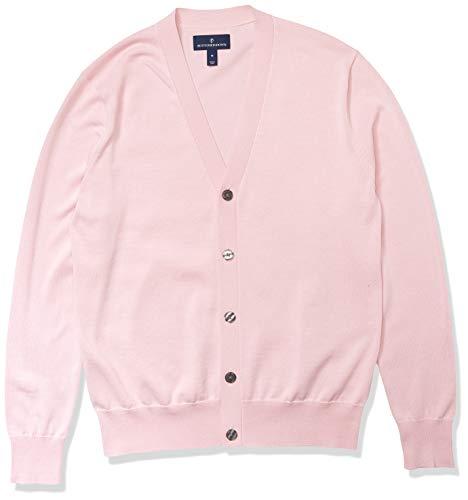 Amazon Brand - Buttoned Down Men's 100% Supima Cotton Cardigan Sweater, Light Pink, Large